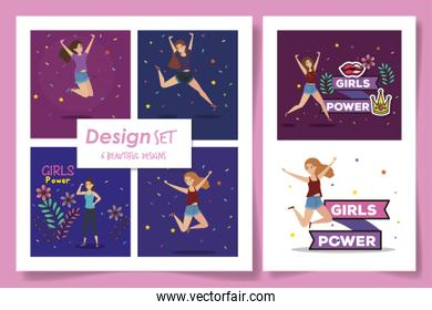 set six designs of girl power card with decoration