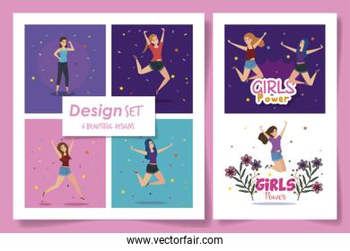pack of six designs of girl power card with decoration
