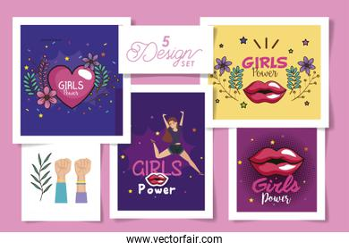 set five designs of girl power cards with decoration
