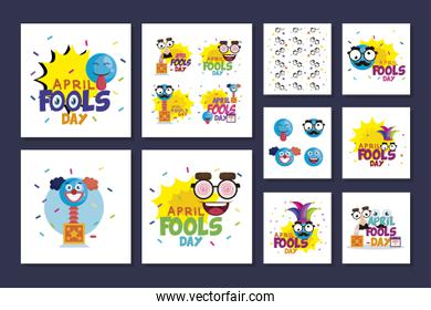 bundle of april fools day with icons decoration