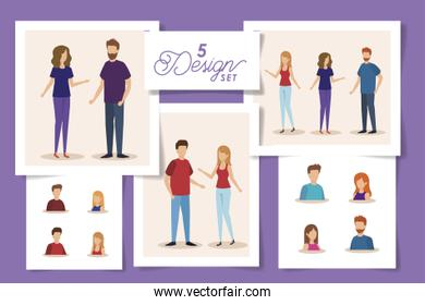 set five designs of young people avatar character