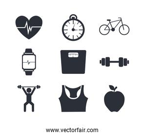 bundle of fitness set icons