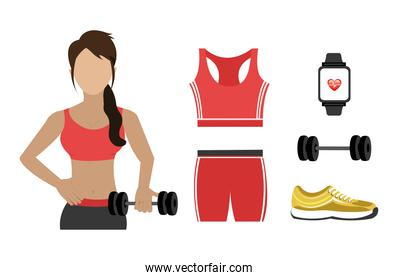 woman with items  set fitness