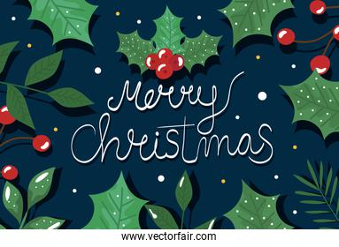 merry christmas poster with decorative leafs