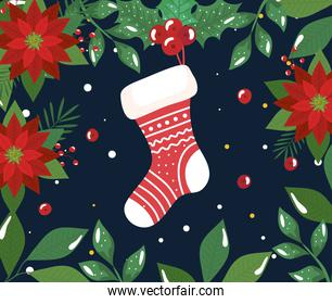 merry christmas poster with sock and flowers decoration