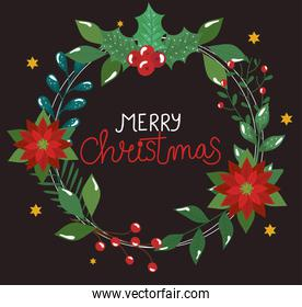poster of merry christmas with flowers and leafs
