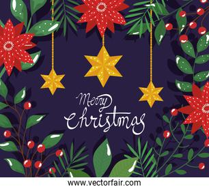 poster of merry christmas with flowers and stars hanging