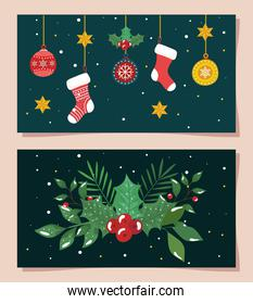 set poster of merry christmas with decoration