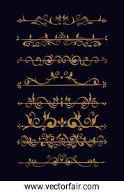 bundle of elegant ornamental borders frames