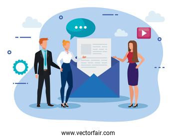 group of business people with envelope and icons