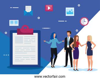 group of business people with clipboard and icons