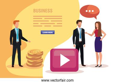 group of business people with pile coins and icons