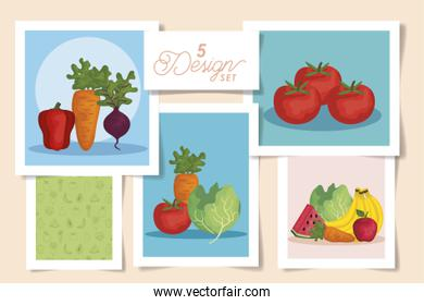 set five designs of designs fresh with vegetables and fruits
