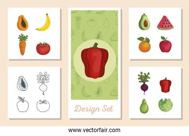 set of designs fresh with vegetables and fruits