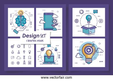set six designs of teamwork with icons