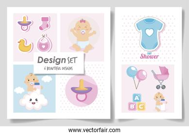 set six designs of baby shower for girl