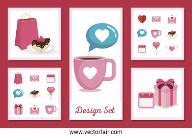 set designs of love with icons decorative