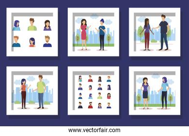 bundle with set designs of young people talking