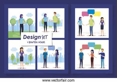 set six designs of young people talking