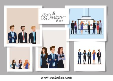 set five designs of meeting business people