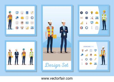 set designs of engineer men with set icons working
