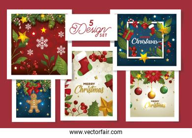 set five designs of merry christmas with flowers and decoration