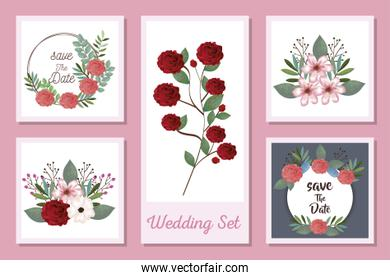 set designs of wedding invitation cards and flowers