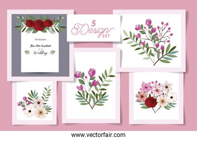 five designs with wedding invitation card and set flowers