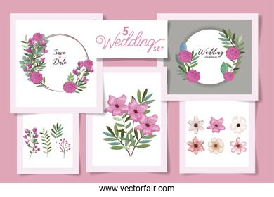 five designs with wedding invitation cards and set flowers