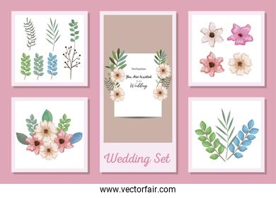 set designs of wedding invitation card and flowers