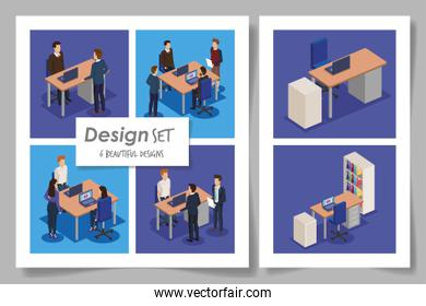 six designs with business people in the workplace