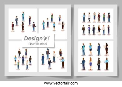set six designs of business people