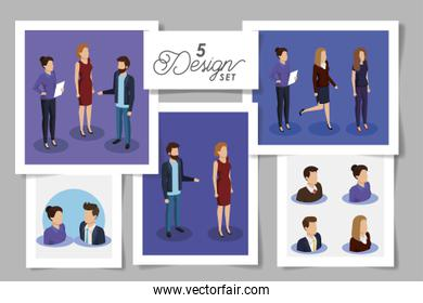 set five designs of business people