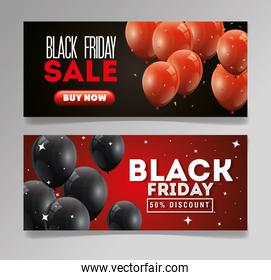 set poster black friday with balloons helium decoration