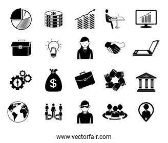 bundle of people silhouette and set business icons
