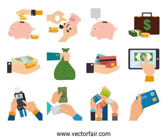 bundle of hands with business set icons