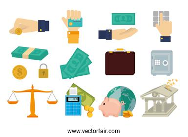 bundle of hands with finance set icons