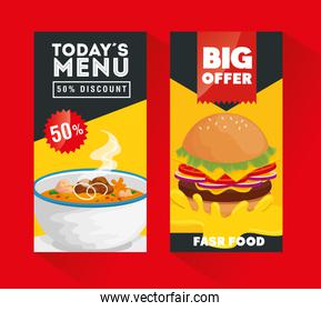 set of poster offer delicious fast food