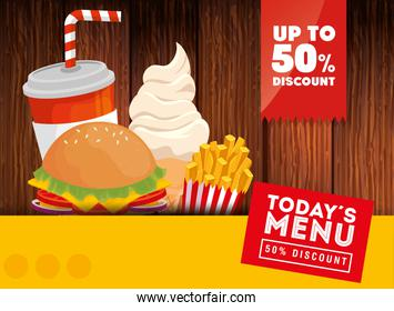 poster of today menu fast food fifty discount