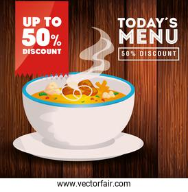 poster of today menu with soup and fifty discount