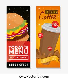 set of poster delicious fast food offer