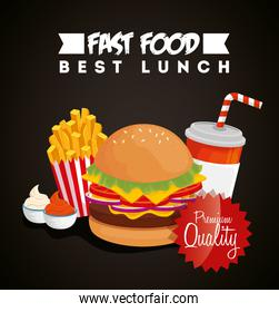 poster of fast food with hamburger and premium quality