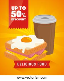 poster delicious food with fifty percent discount