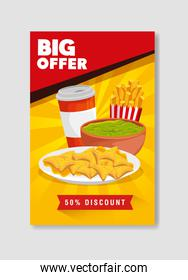 poster big offer of nachos and guacamole with fifty percent discount