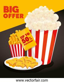 poster of big offer with popcorn and delicious food