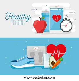 set poster of healthy lifestyle with icons