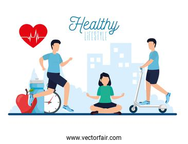 poster healthy lifestyle with people and icons