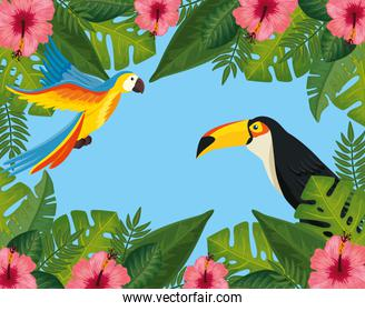 tropical summer banner with frame of flowers and animals exotics