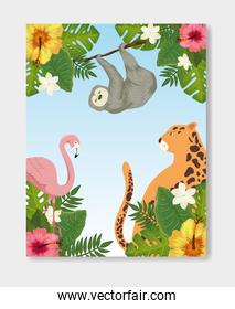 group of animals exotics with flowers and leafs