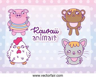 Kawaii animals store cartoons vector design